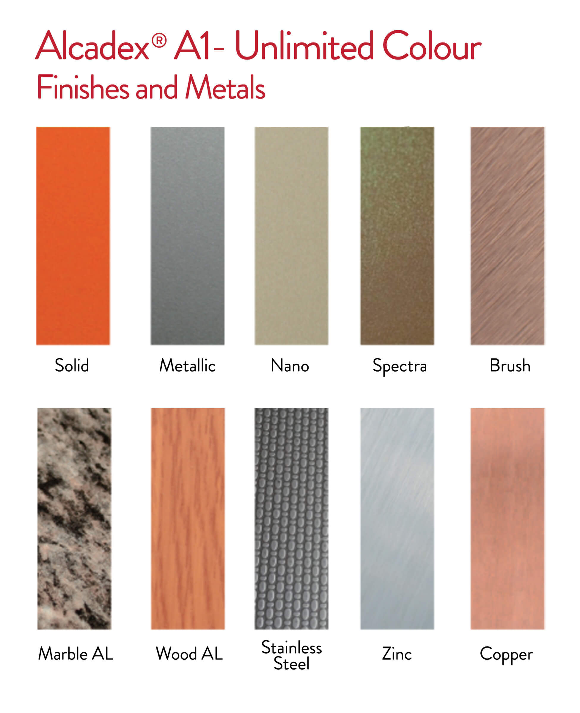Alcadex Unlimited Colour, Finishes and Metals