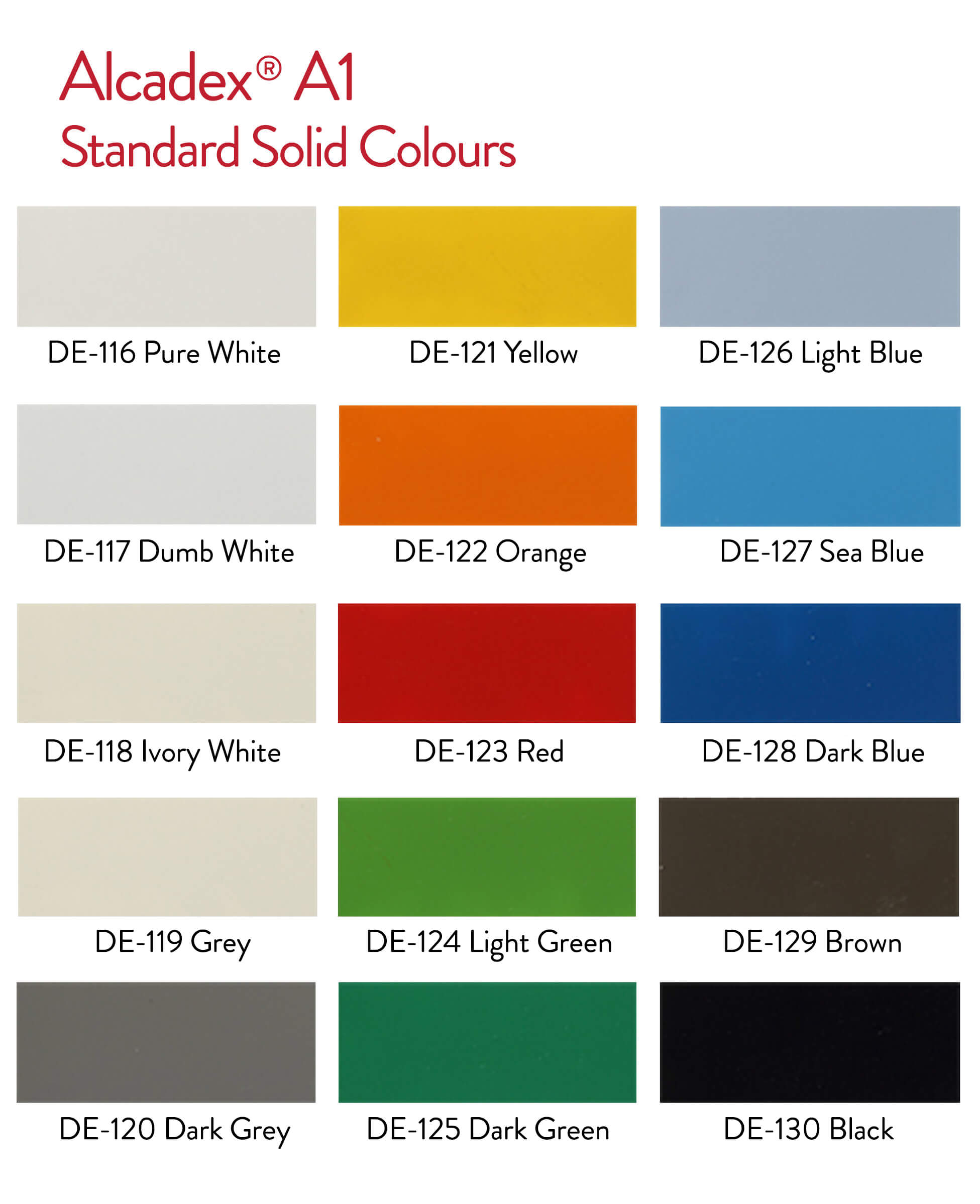 Standard Solid Colours